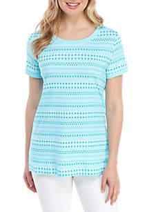 38143ceabb81b5 ... Kim Rogers® Button Sleeve Dot Print T Shirt