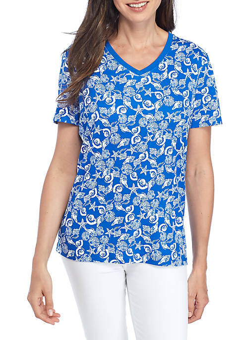 Kim Rogers® Short Sleeve V-Neck Shell Tee