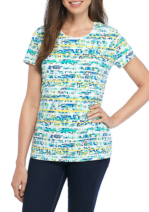 Kim Rogers® Short Sleeve Floral Stripe Top