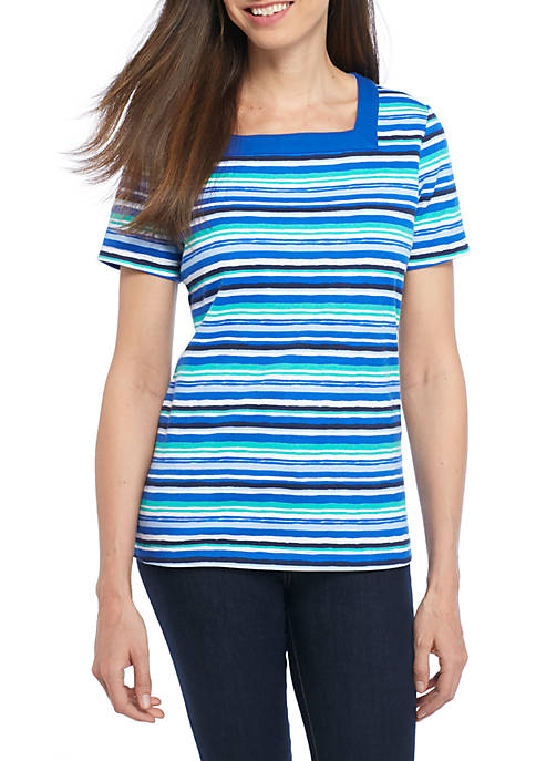 Kim Rogers® Short Sleeve Square Stripe Top