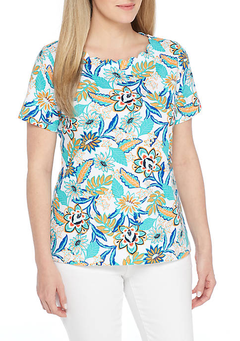Kim Rogers® Petite Short Sleeve Scallop Neck Floral