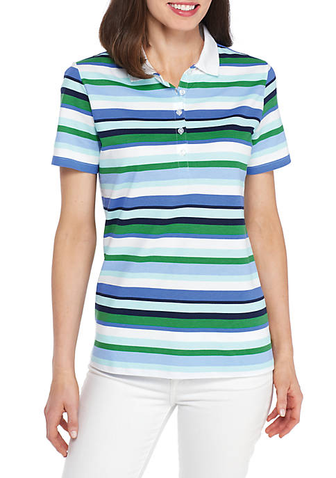 Kim Rogers® Stripe Polo With Tipping
