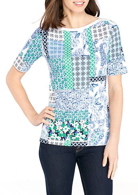 Kim Rogers® Elbow Sleeve Button Neck Patchwork Top