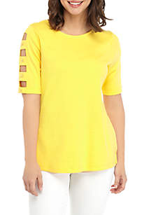 Kim Rogers® Elbow Button Ladder Sleeve Top