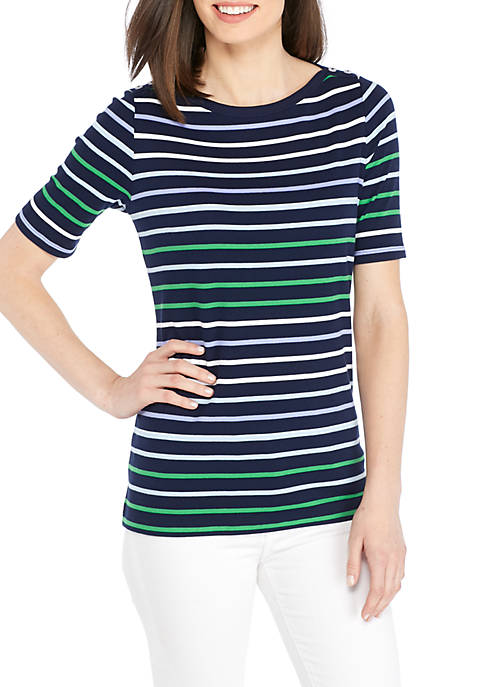 Kim Rogers® Elbow Sleeve Button Stripe Knit Top