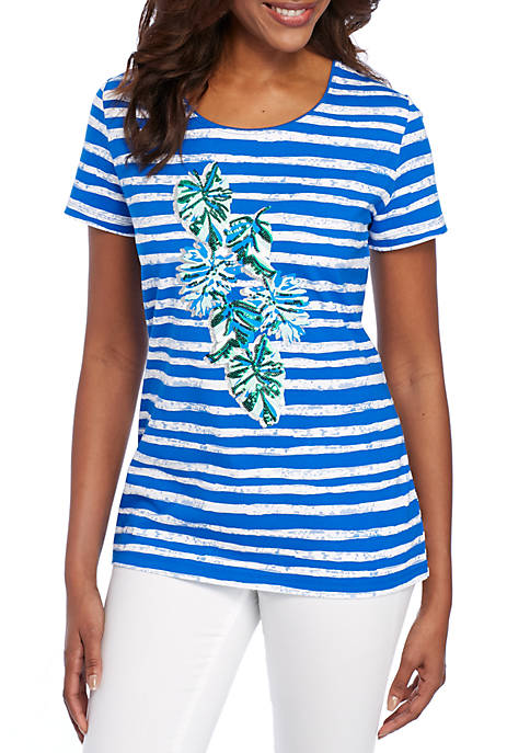 Kim Rogers® Short Sleeve Placed Palm Print Tee