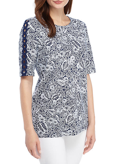 Kim Rogers® Crochet Sleeve Printed Top