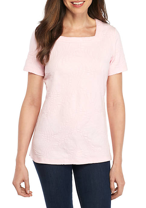 Kim Rogers® Short Sleeve Square Neck Coverstitch Top