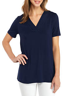 Solid Short Sleeve Pleated V-neck Top
