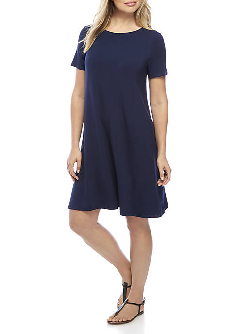 Kim Rogers® Solid Short Sleeve Swing Dress