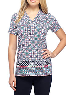 Printed Short Sleeve Pleated V-Neck Top