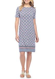 Print Short Sleeve Swing Dress