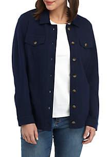 Kim Rogers® Long Sleeve Knit Trucker Jacket