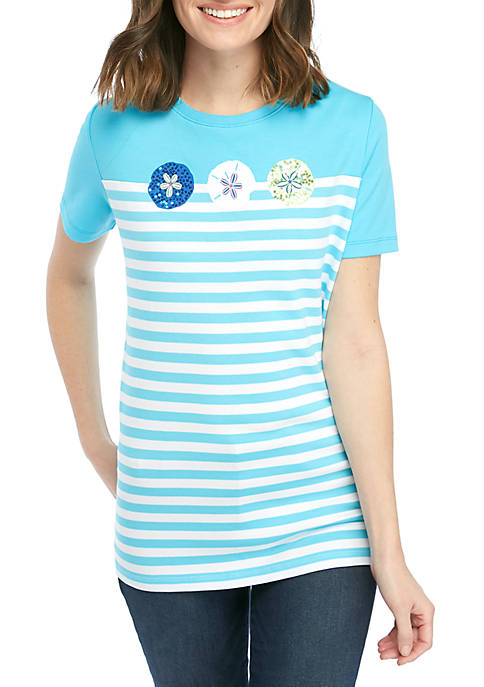 Kim Rogers® Short Sleeve Crew Neck Sand Dollar