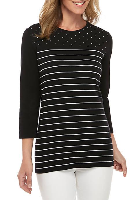 Kim Rogers® 3/4 Sleeve Dot Stripe Top