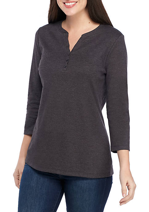 Kim Rogers® 3/4 Sleeve Henley Top