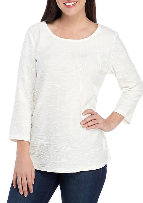 Kim Rogers® 3/4 Textured T Shirt