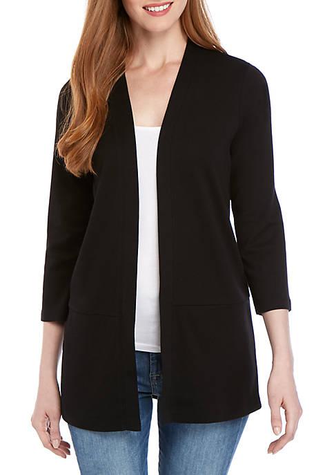 Kim Rogers® 3/4 Sleeve Split Back Cardigan
