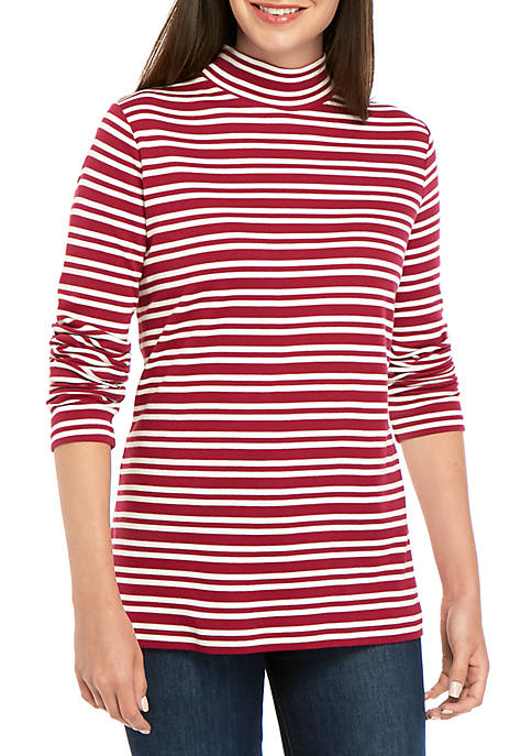 Long Sleeve Striped Mock Neck Top