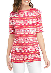 Kim Rogers® Boat Neck Printed Top