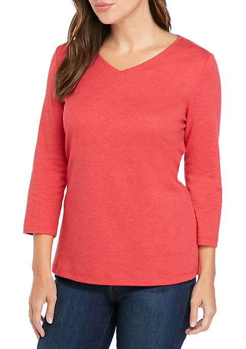 Kim Rogers® 3/4 Sleeve V Neck Solid T