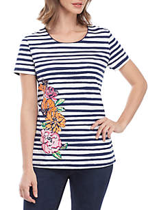 62835e23a5df ... Kim Rogers® Short Sleeve Stripe Floral Placement Top