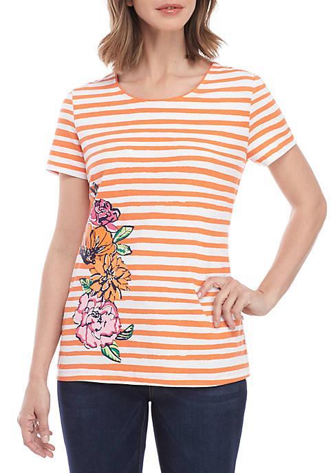 Kim Rogers® Short Sleeve Stripe Floral Placement Top