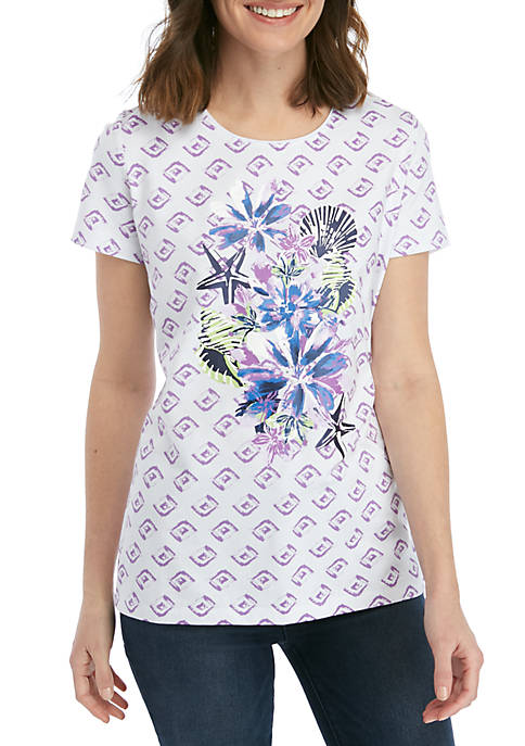 Kim Rogers® Short Sleeve Lush Floral Print Top