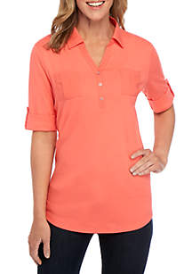 Kim Rogers® Knit to Woven Henley Top