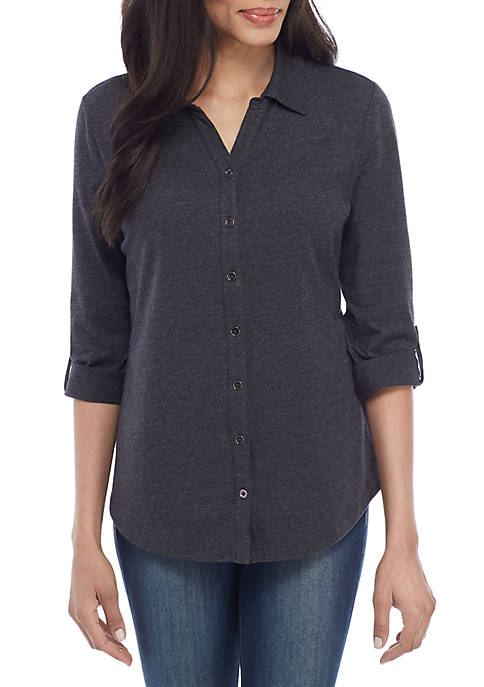Kim Rogers® 3/4 Roll Tab Sleeve Button Up