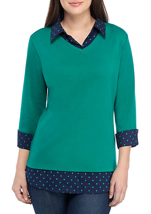 Womens 3/4 Sleeve Knit to Woven 2Fer Top