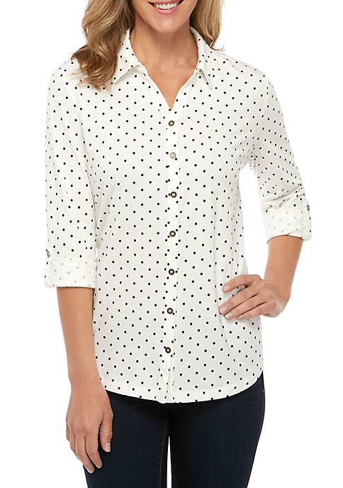 Womens 3/4 Printed Button Up Top