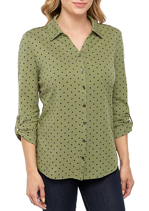 Kim Rogers® 3/4 Printed Button Up Top