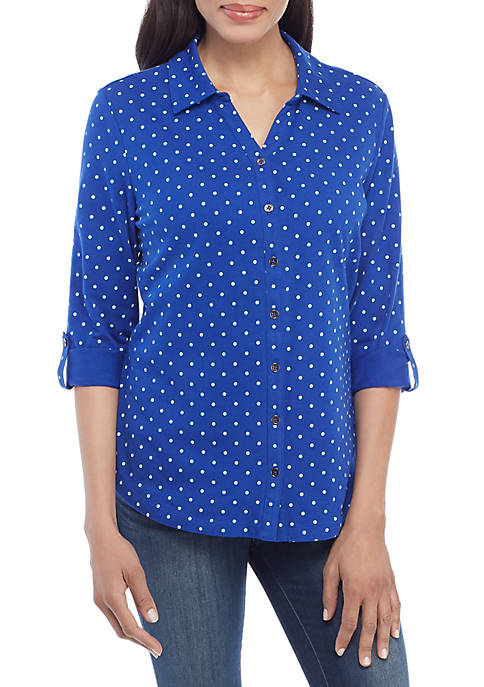 Kim Rogers® Womens 3/4 Printed Button Up Top