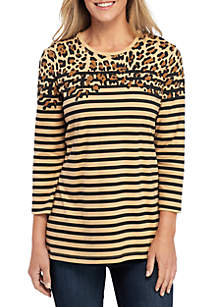 Kim Rogers® 3/4 Sleeve Color Block Animal Print Top