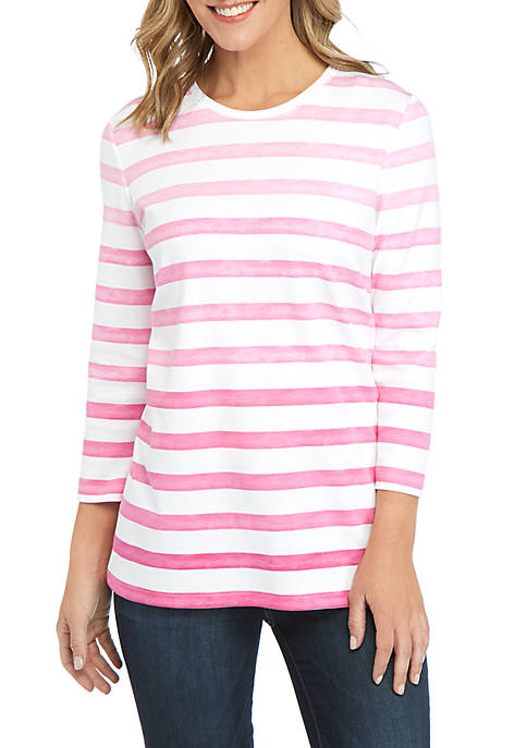 Kim Rogers® 3/4 Sleeve Ombre Stripe T Shirt