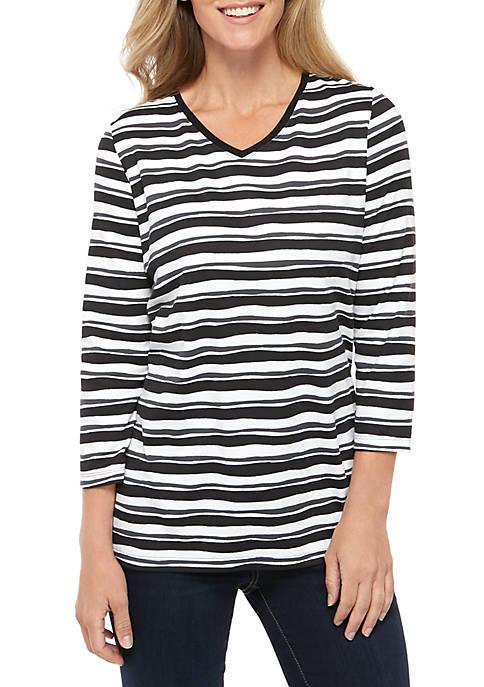Kim Rogers® 3/4 Sleeve V Neck Stripe Print