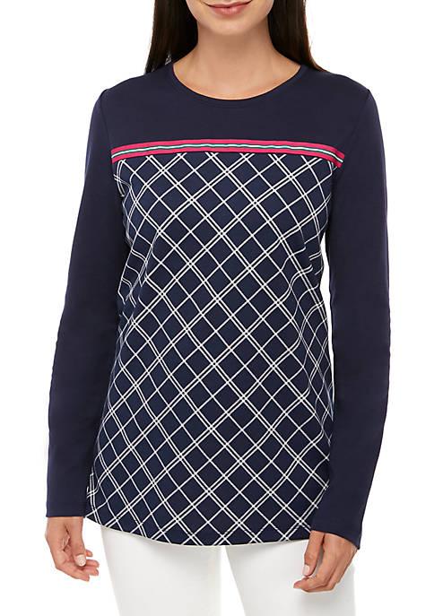 Long Sleeve Plaid Print T Shirt