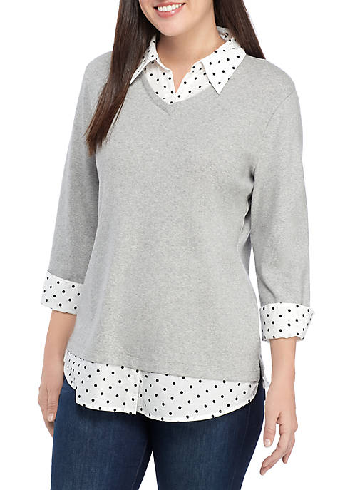 Kim Rogers® 3/4 Sleeve Knit to Woven 2Fer