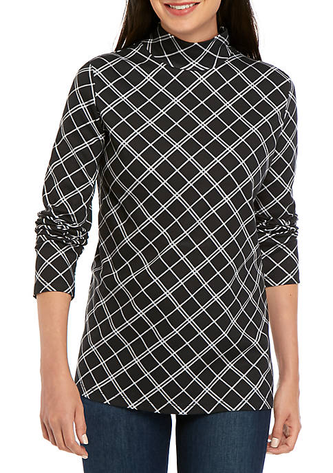 Kim Rogers® Long Sleeve Windowpane Print Top