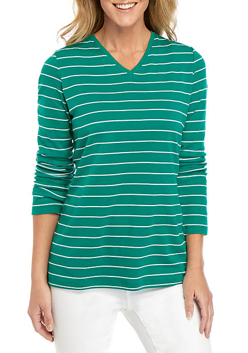 Kim Rogers® Long Sleeve V Neck Striped Top