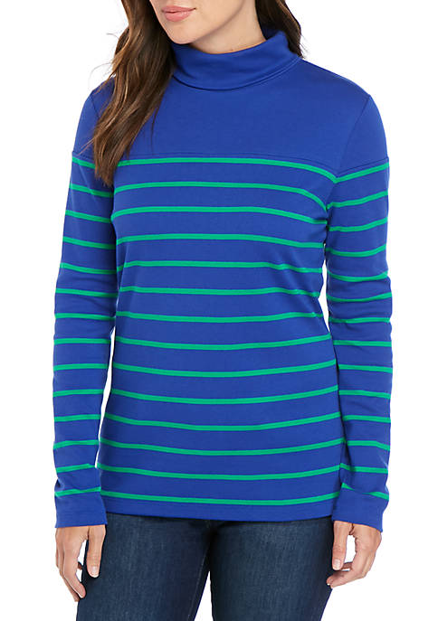Long Sleeve Turtleneck Stripe Top