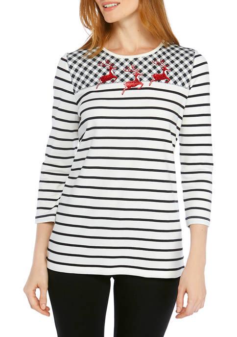 Kim Rogers® 3/4 Sleeve Deer T-Shirt