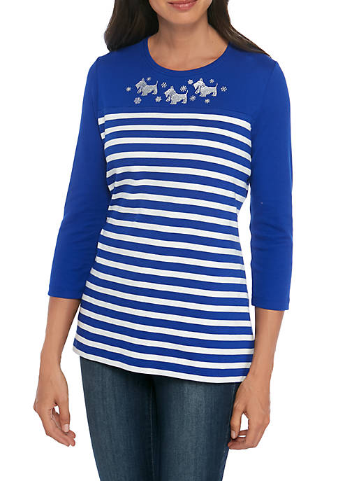 Kim Rogers® 3/4 Sleeve Scottie Dog T-Shirt