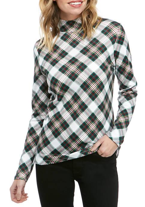 Kim Rogers® Womens Long Sleeve Mock Neck Festive