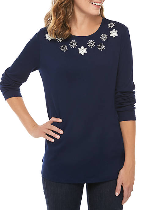 Kim Rogers® Long Sleeve Snow Flake T-Shirt