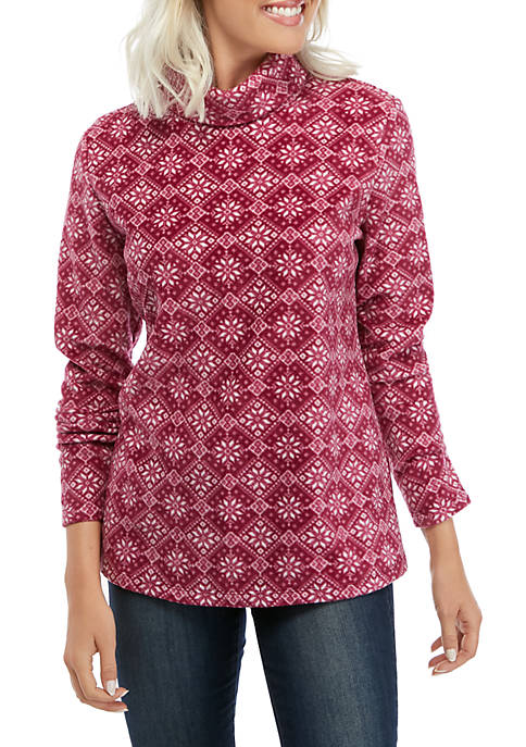 Kim Rogers® Long Sleeve Turtleneck Printed Pullover
