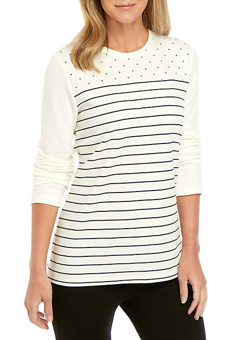 Kim Rogers® Long Sleeve Crew Neck Color Block