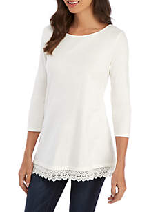 Kim Rogers® 3/4 Sleeve Lace Hem Tunic