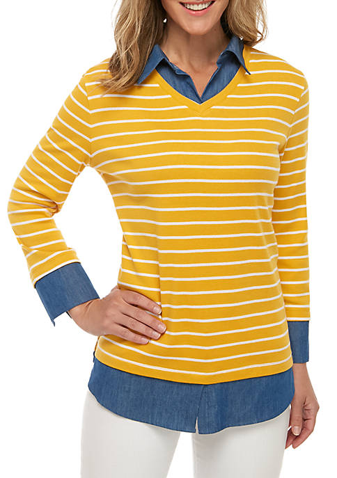 Kim Rogers® Long Sleeve Knit To Woven 2Fer
